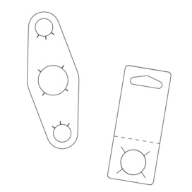 Flat line drawing of 2 different bottle neck hang tabs