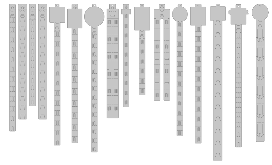 line drawings of a selection of clipstrip types