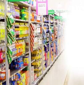 cross merchandising in a supermarket aisle