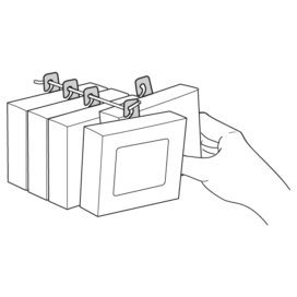 3D line drawing of product boxes hanging using hook style hang tabs