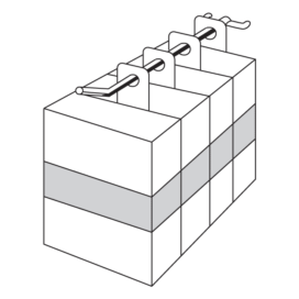 3D line drawing of product boxes hanging using hole hang tabs