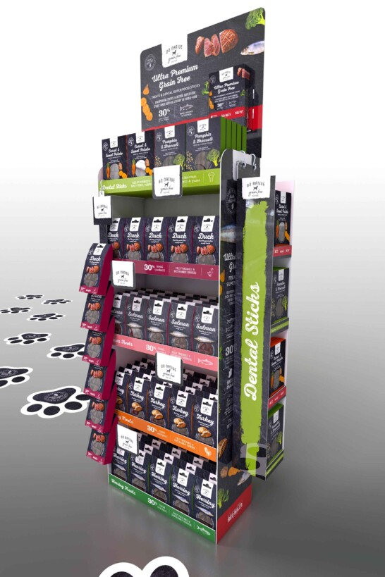 Full view of Go Native semi pemanent floor stand