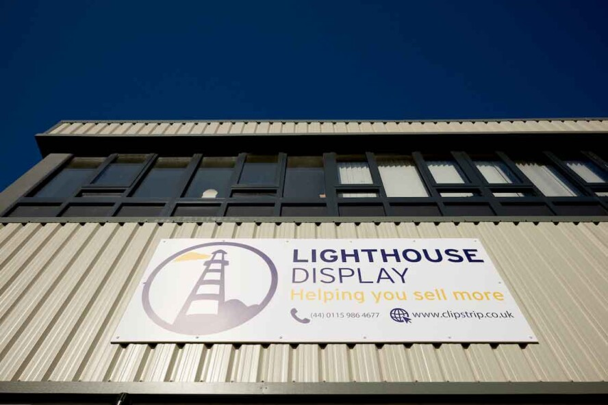 Exterior photo of Lighthouse Display office showing the exteral signage