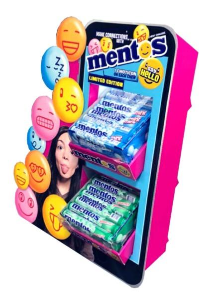 Mentos counter top display unit with emoticon faces