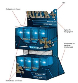 Concept sketch of a Rizzla dual level table top display unit