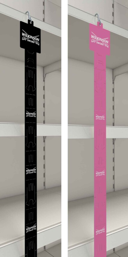 Full length view of 2 Clipstrips haning on a shelf
